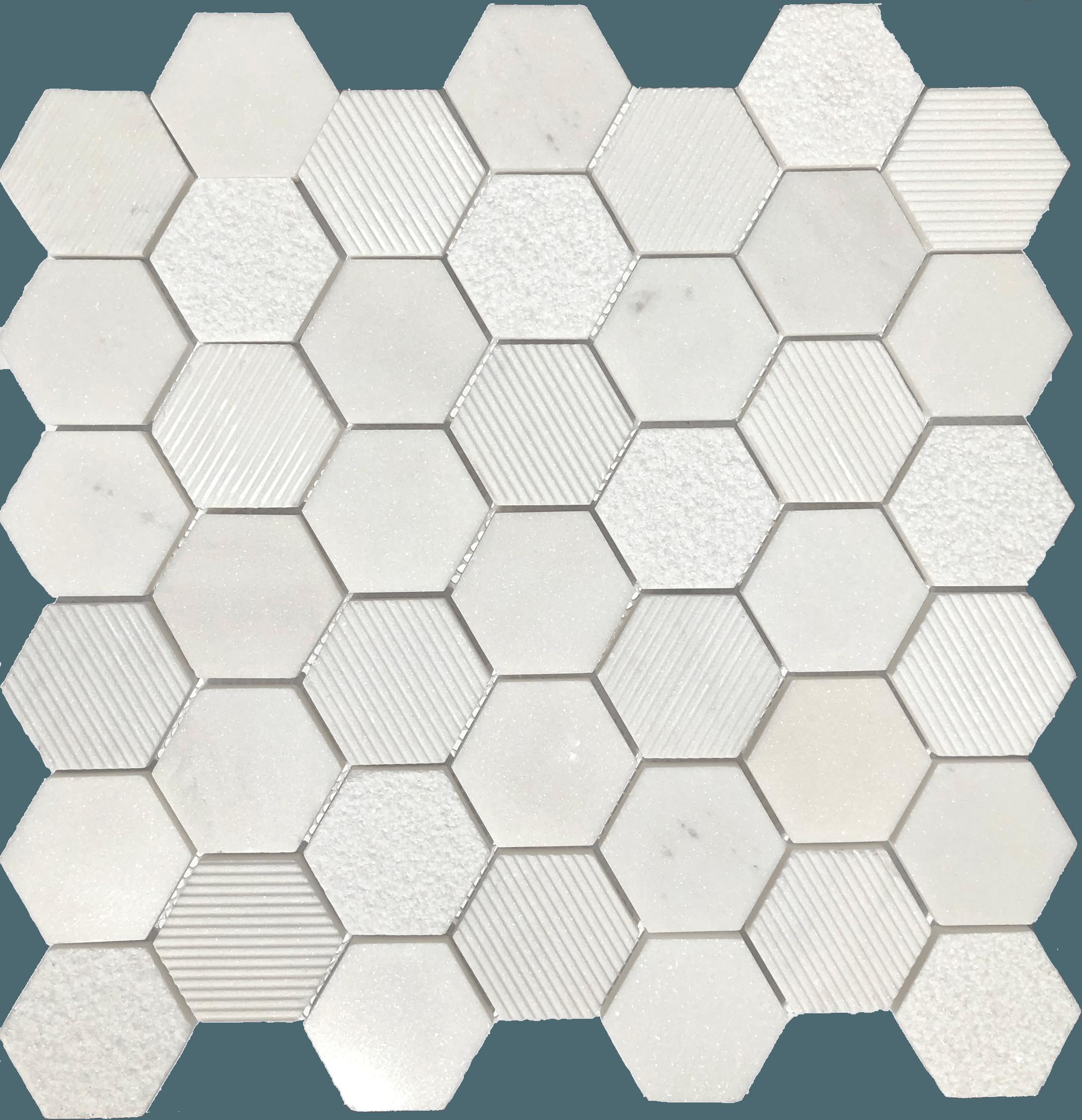 queen bee alpine hex marble mosaic on mesh